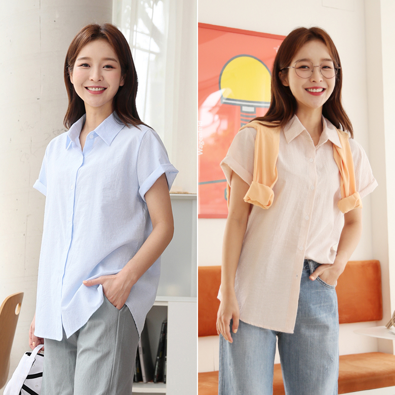 midasb-[호쿠 스트라이프 반팔 셔츠]♡韓國女裝上衣