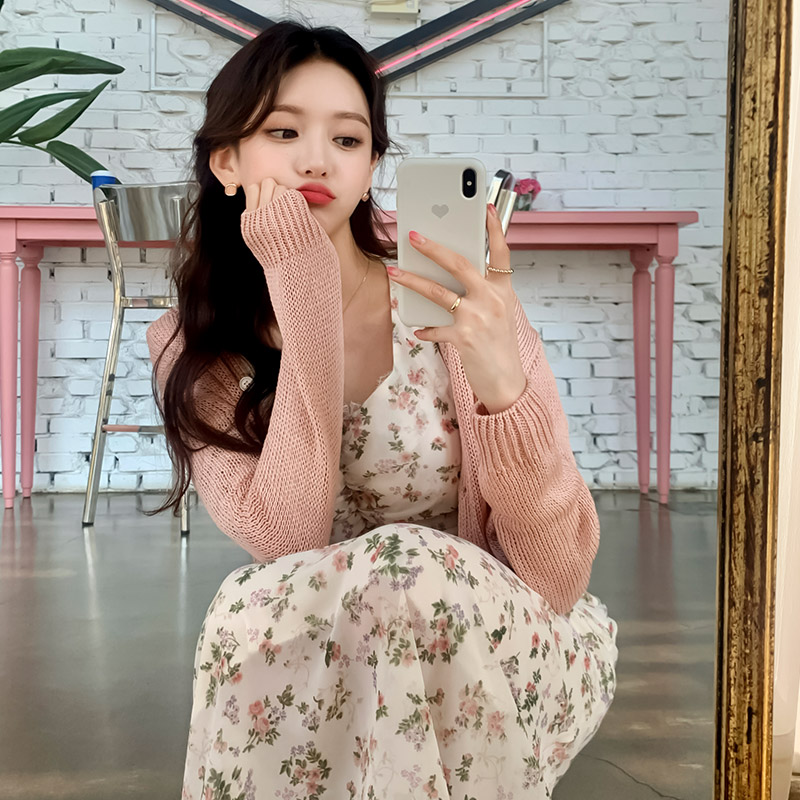 attrangs-cd1794 달달한 파스텔 컬러 구성의 세미크롭 V넥 니트 가디건 cardigan♡韓國女裝外套