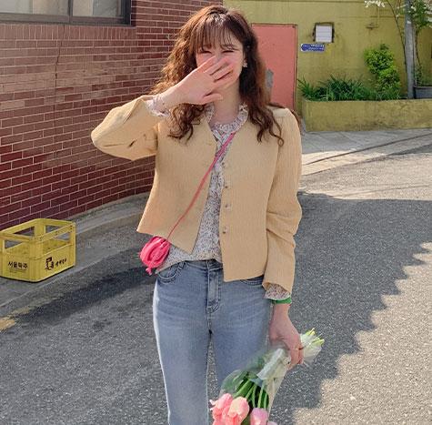 leelin-[스윗 세미크롭 브이넥 써머자켓[size:F(55~66)]]♡韓國女裝外套