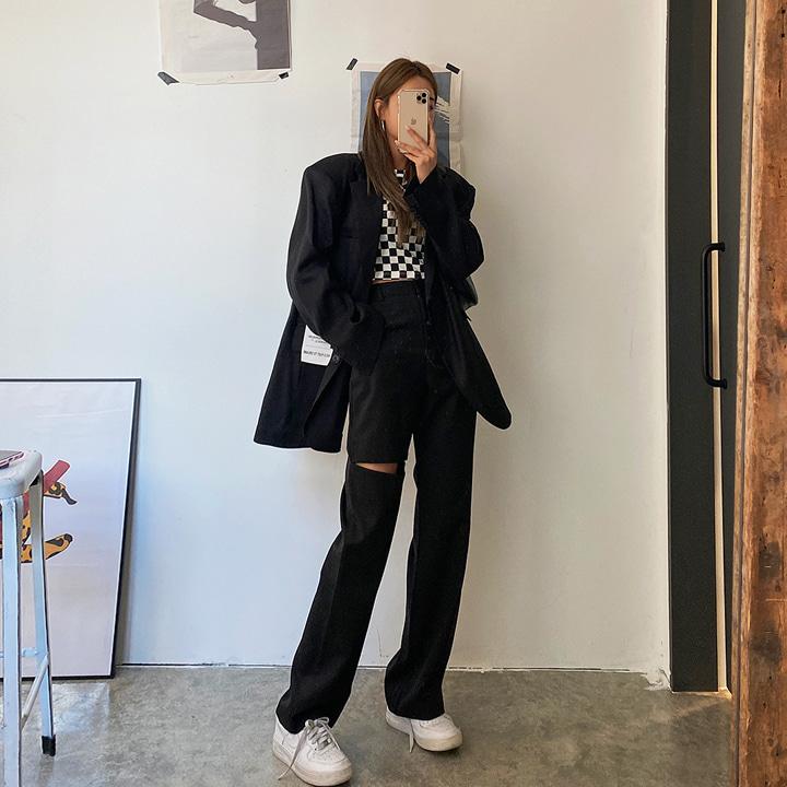 lagirl-컷팅뒷밴딩하이슬랙스-sl♡韓國女裝褲