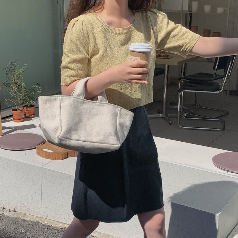 laurenhi-루민 부클 스퀘어 반팔 니트 - 3 color♡韓國女裝上衣