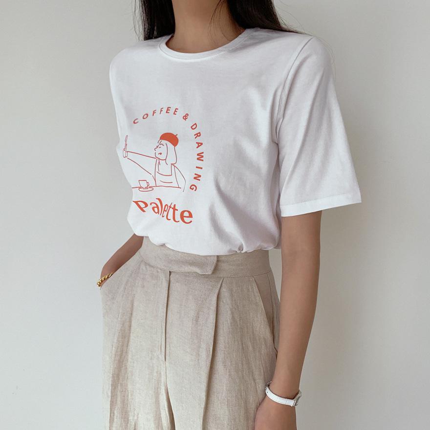 miamasvin-아티스트걸 라운드 티셔츠♡韓國女裝上衣