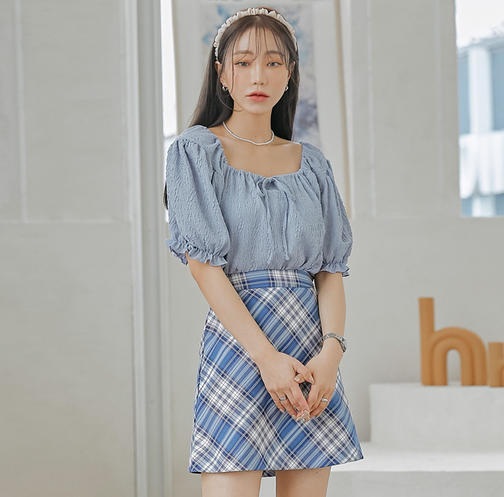 common-unique--피오니 링클 스트랩 크롭 1/2 블라우스♡韓國女裝上衣