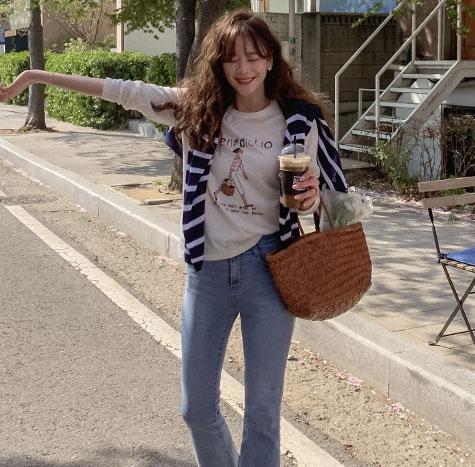 leelin-[베네디오 프린팅 긴팔 티셔츠 [size:F(55~66)]]♡韓國女裝上衣