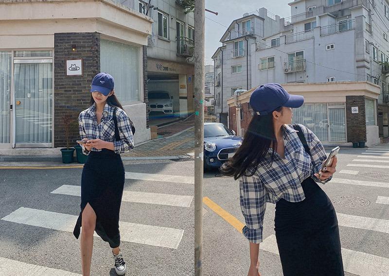 maybins-[당일발송]헤킷 체크 크롭 셔츠♡韓國女裝上衣