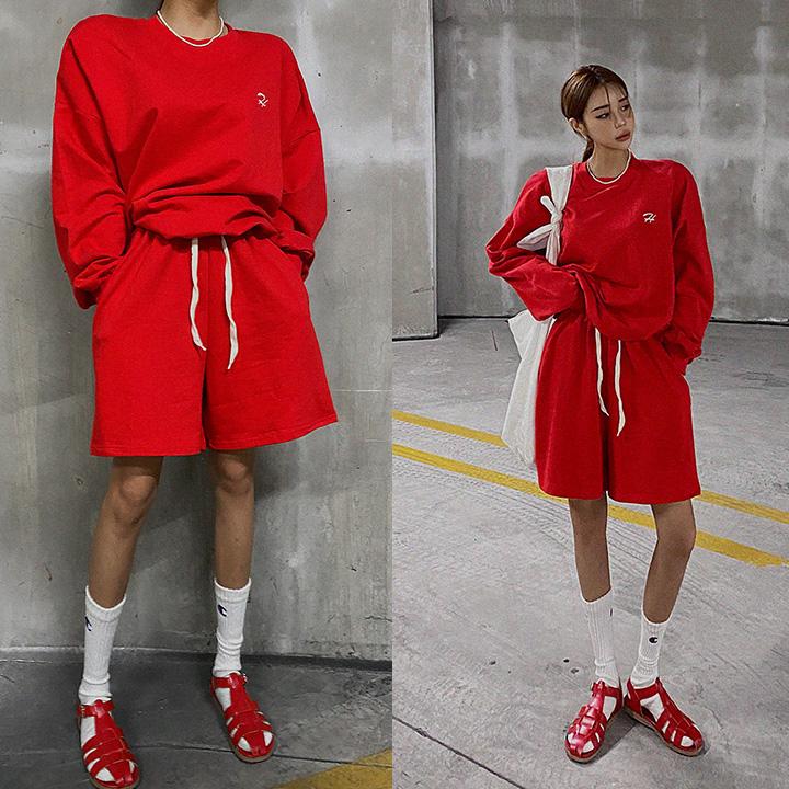 lagirl-에치자수맨투맨반바지세트-set♡韓國女裝套裝