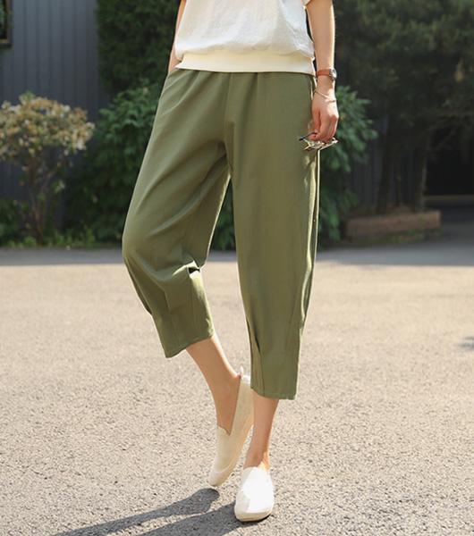 roompacker-룸페커 [리지 핀턱 코튼 밴딩팬츠]♡韓國女裝褲