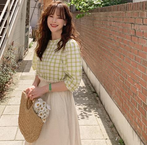 leelin-[MADE LIN노앨 퍼프소매 체크 블라우스[size:F(55~66)]]♡韓國女裝上衣