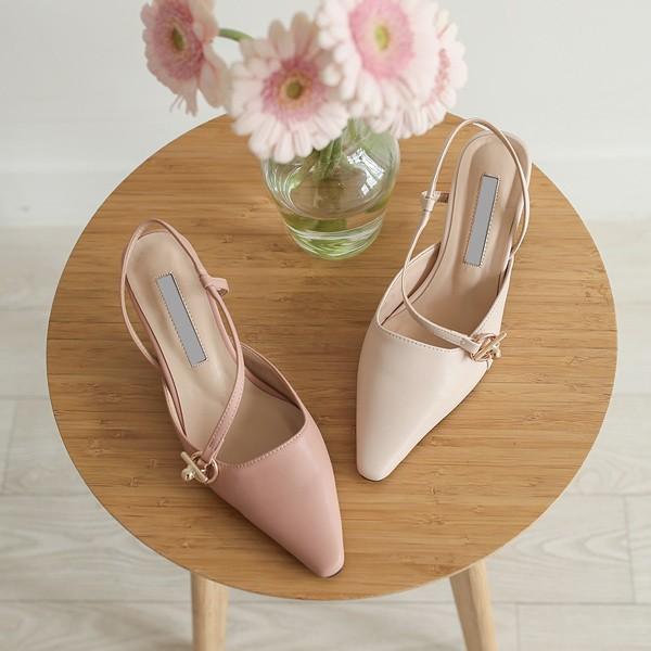 ode-[오블리크 스트랩 골드링 블로퍼힐]♡韓國女裝鞋