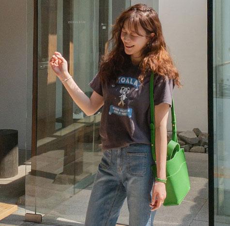 leelin-[춤추는 알로하 반팔 티셔츠[size:F(55~66)]]♡韓國女裝上衣
