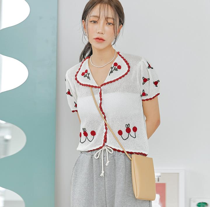 common-unique--체리 컬러링 1/2 니트 가디건♡韓國女裝外套