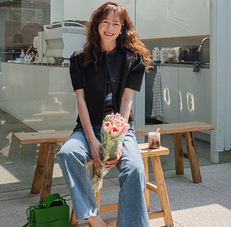 leelin-[바질 퍼프소매 세미크롭 반팔자켓[size:F(55~66)]]♡韓國女裝外套