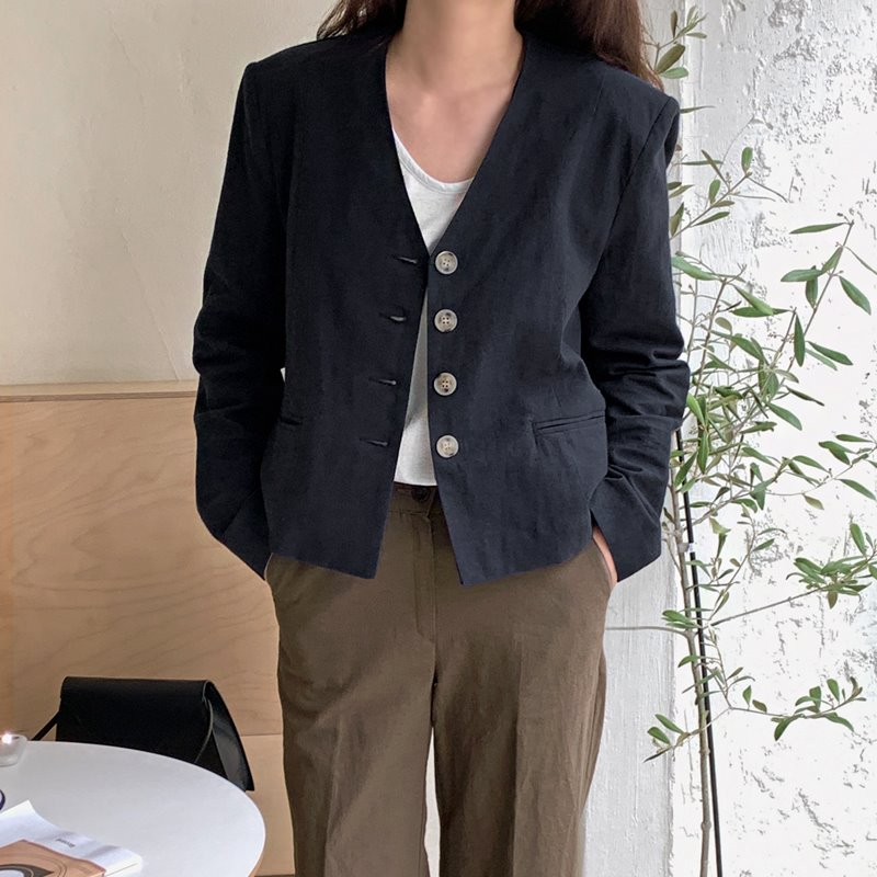 laurenhi-노린 린넨 브이넥 노카라 싱글 숏 자켓 - 3 color♡韓國女裝外套
