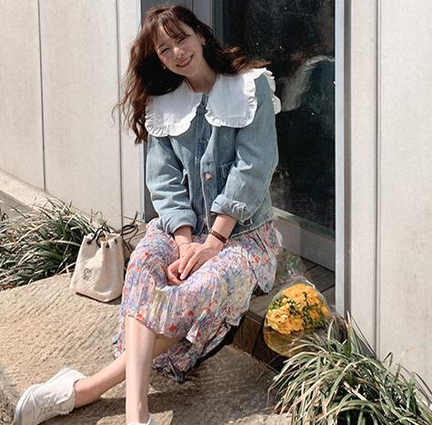 leelin-[럽럽 프릴카라 데님 청자켓[size:F(55~66)]]♡韓國女裝外套