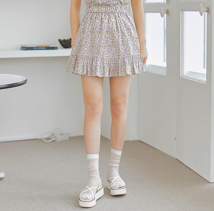 common-unique--헤이니 세트-업 플라워 미니 스커트♡韓國女裝裙