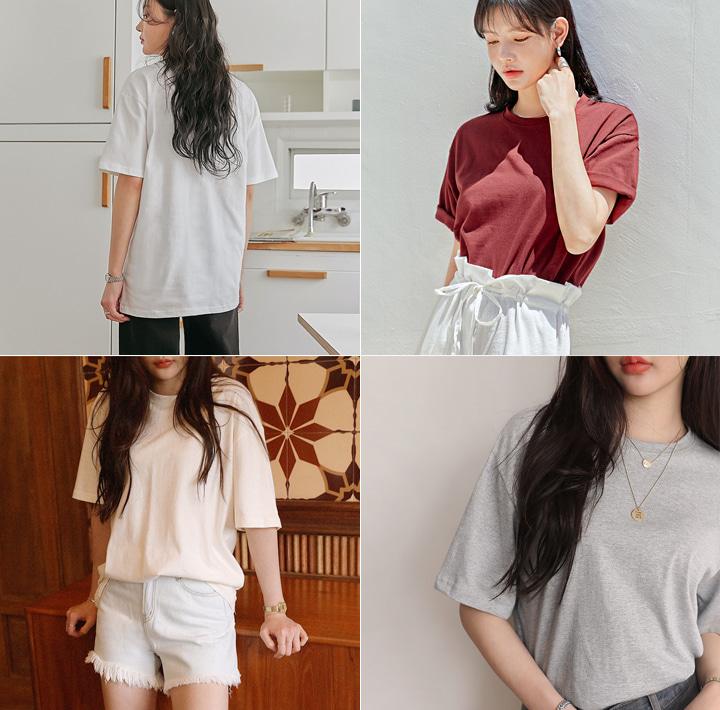 common-unique--11 컬러 베이직 박시 라운드 1/2 티♡韓國女裝上衣