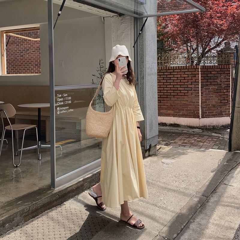 laurenhi-헤라 카브라 셔링 롱 원피스 - 3 color♡韓國女裝連身裙