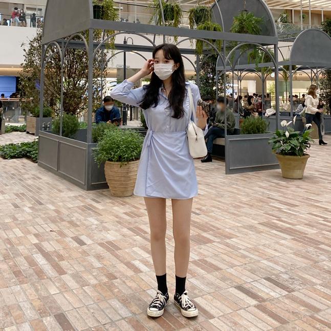 sonyunara-사나 스트라이프 랩원피스♡韓國女裝連身裙