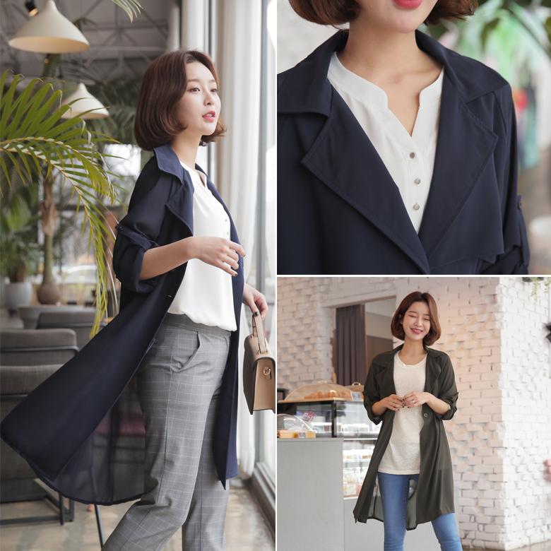 midasb-[[끈set+롤업]노닝 쉬폰 롱 자켓]♡韓國女裝外套