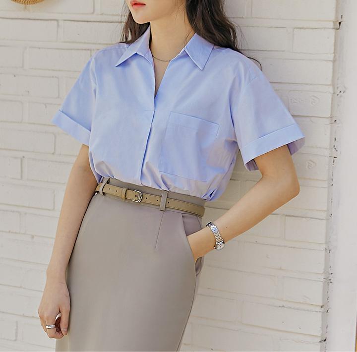 common-unique--베이온 포켓 롤 업 1/2 셔츠♡韓國女裝上衣