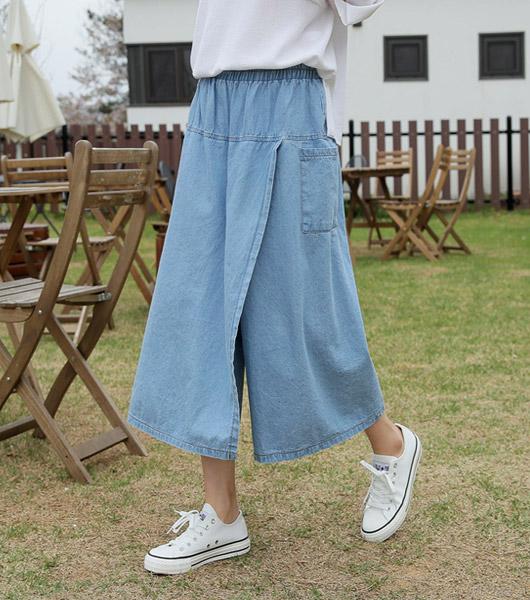 roompacker-룸페커 [데님 밴딩 랩 큐롯팬츠]♡韓國女裝褲