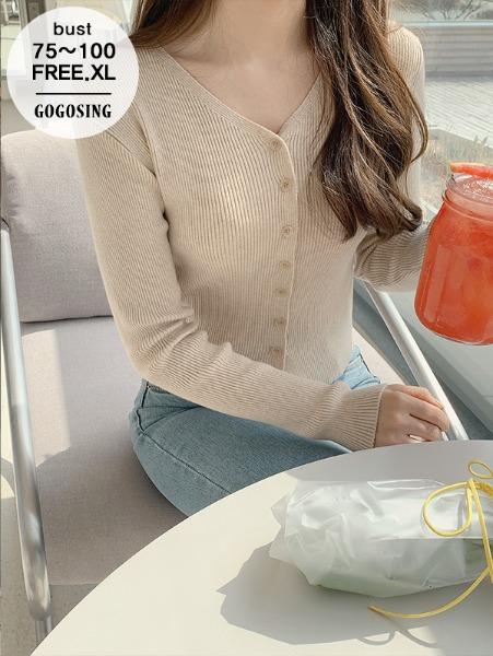 ggsing-여리핏 버튼 브이넥 니트가디건 (14게이지1합,가둘레,무료배송)♡韓國女裝外套