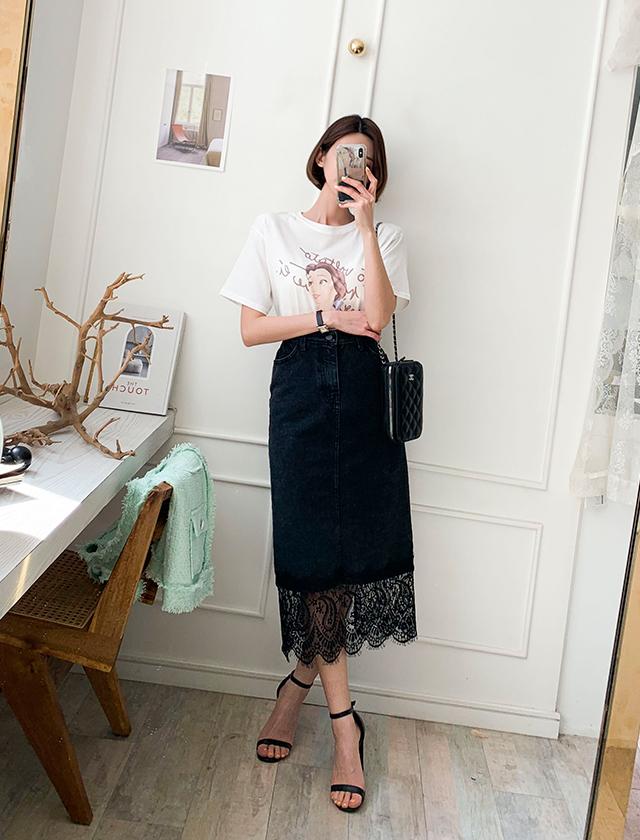 babirolen-[레이스 데님-sk]♡韓國女裝裙