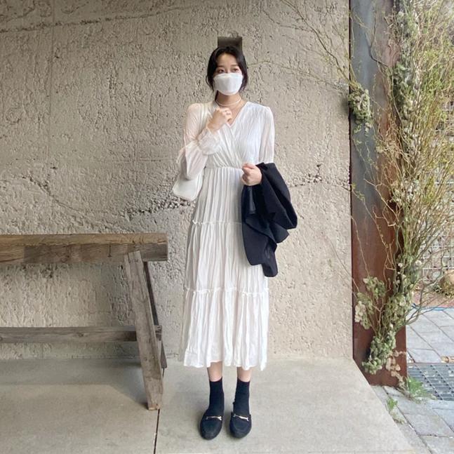 sonyunara-살랑 브이넥 쉬폰 롱원피스♡韓國女裝連身裙