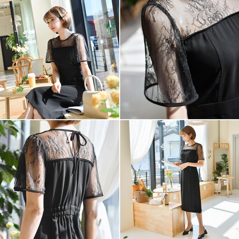 midasb-[드밍 시스루 레이스 원피스]♡韓國女裝連身裙