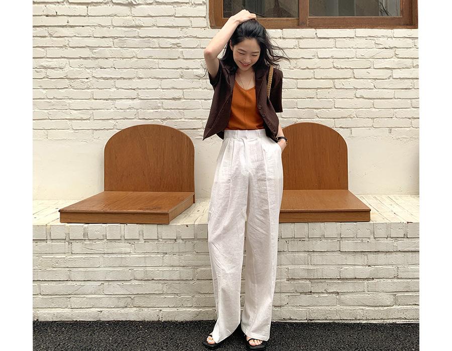 frombeginning-레이라 린넨핀턱슬랙스 (6color)♡韓國女裝褲