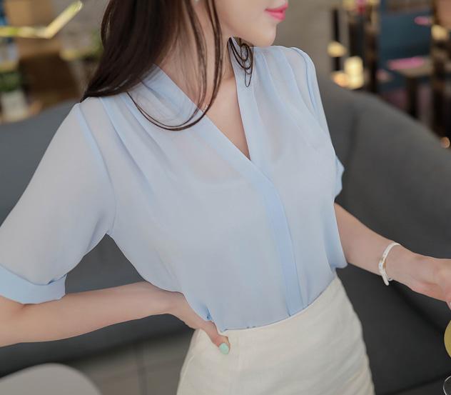 myfiona-시원한루시 브이넥 블라우스 m6570 - 러블리 로맨틱 1위 쇼핑몰 피오나♡韓國女裝上衣