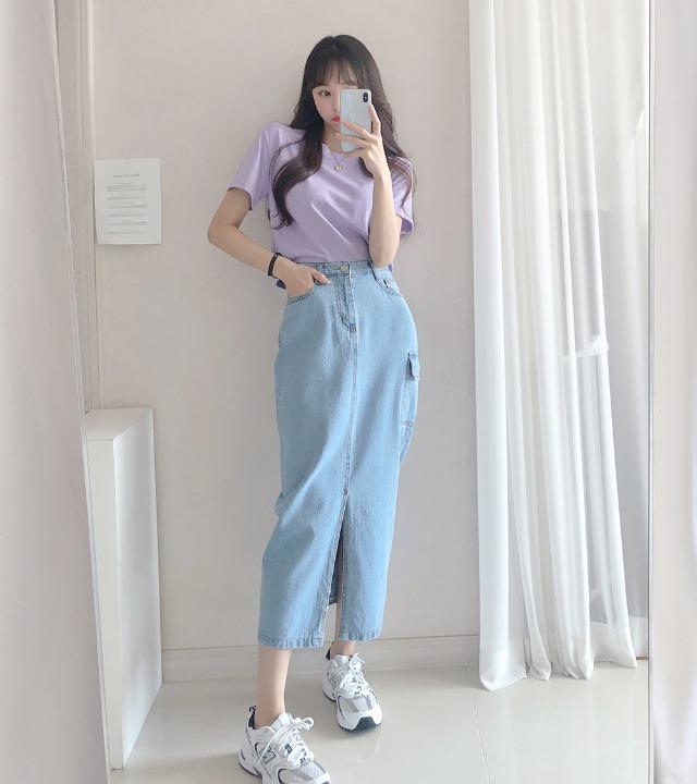 uniqueon-카고 데님 트임 롱스커트 [H0077]♡韓國女裝裙