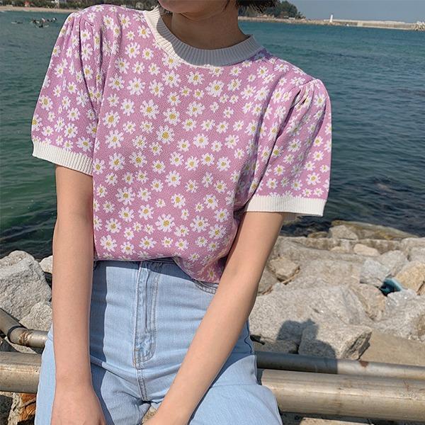 906studio-리지 플라워반팔니트♡韓國女裝上衣