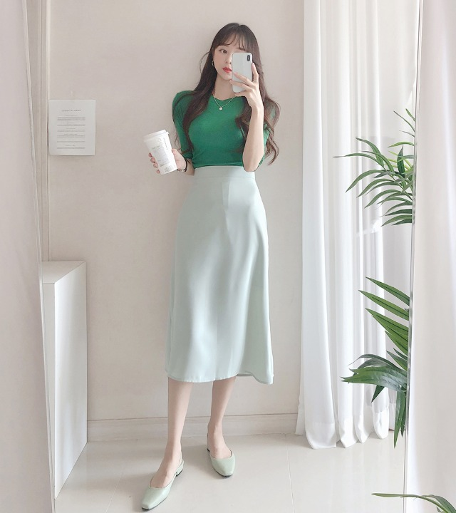 uniqueon-실키 촤라라핏 플레어 A라인 미디롱스커트 [H0075]♡韓國女裝裙