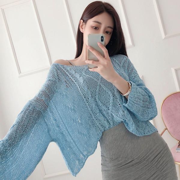 babinpumkin-컬러잼 시스루 라운드 니트♡韓國女裝上衣