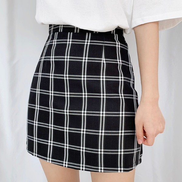 bullang-[속바지] 메이플 에이치 체크 스커트♡韓國女裝裙