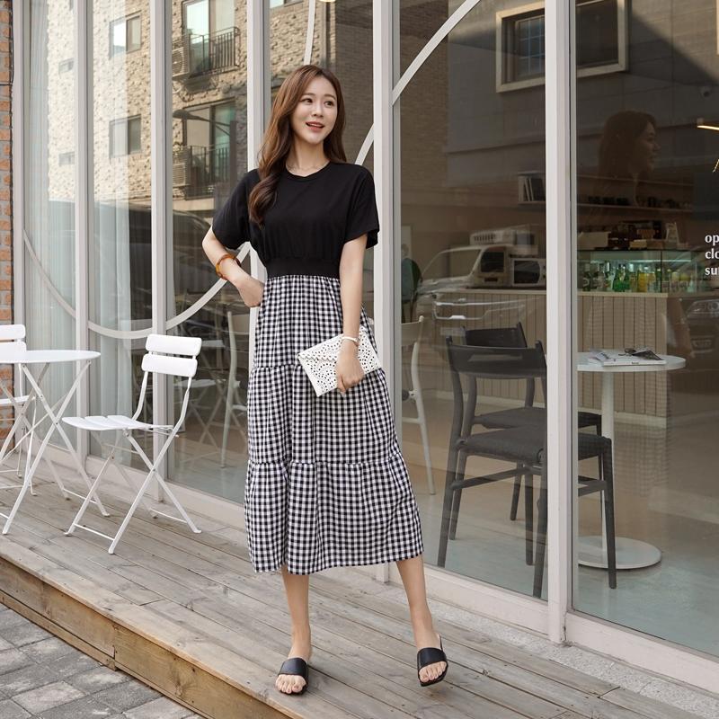 clicknfunny-덴루 체크배색원피스♡韓國女裝連身裙