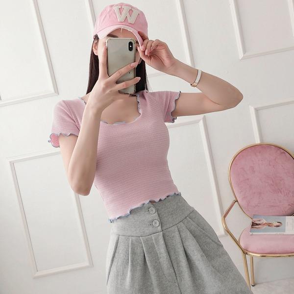 babinpumkin-핑크구름 단가라 크롭 티셔츠♡韓國女裝上衣