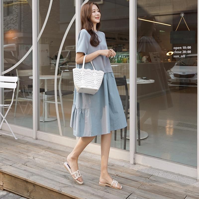 clicknfunny-즈몽배색 캉캉원피스♡韓國女裝連身裙