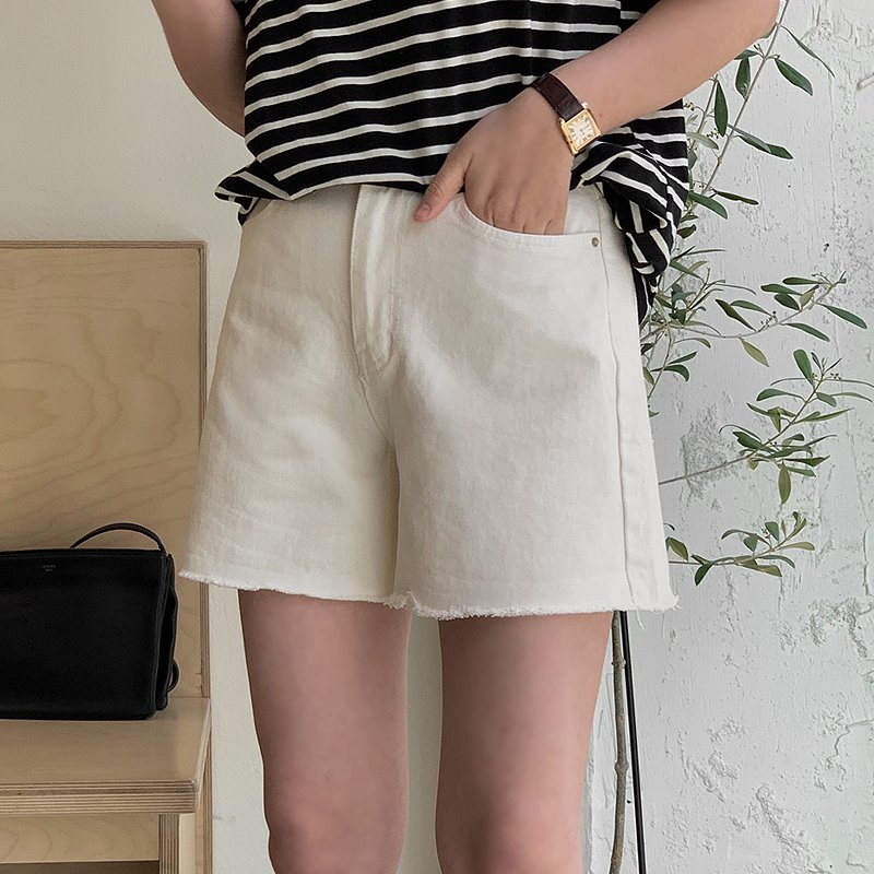 laurenhi-앤트리 3부 코튼팬츠 - 1 color♡韓國女裝褲