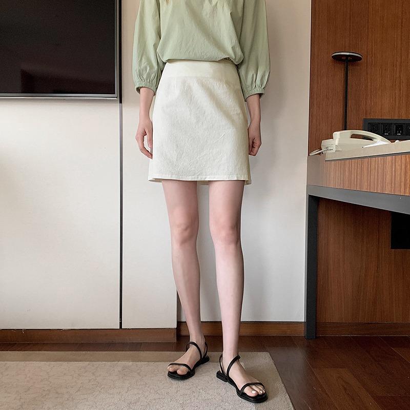 laurenhi-[Made Lauren]코나 린넨 세미 A라인 미니 스커트 - 3 color♡韓國女裝裙