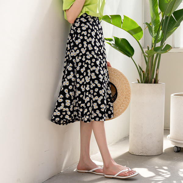 misscandy-[no.20359 데이지플라워 뒷밴딩 A라인스커트]♡韓國女裝裙