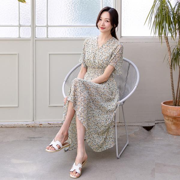 misscandy-[no.20354 날개소매 쟈스민플라워 쉬폰원피스]♡韓國女裝連身裙