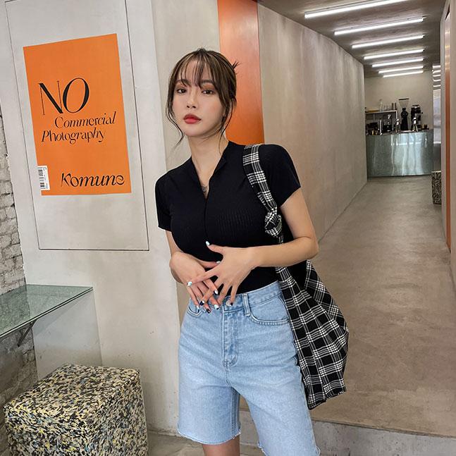 sonyunara-레이지 린넨 스판 브이넥 반팔 ♡韓國女裝上衣