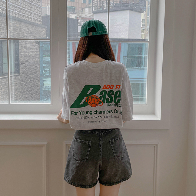 sonyunara-이팩트 백프린팅 배색 반팔 티♡韓國女裝上衣