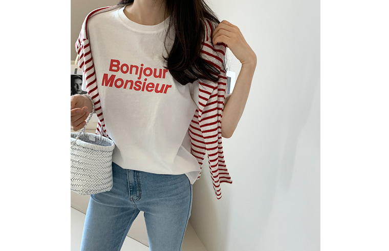 dailylook-[단독진행] 봉쥬르티셔츠♡韓國女裝上衣