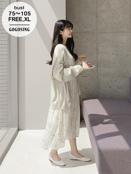 ggsing-[주말동안9%할인]도트 브이랩 롱 원피스(사선,패턴,가둘레,무료배송)♡韓國女裝連身裙