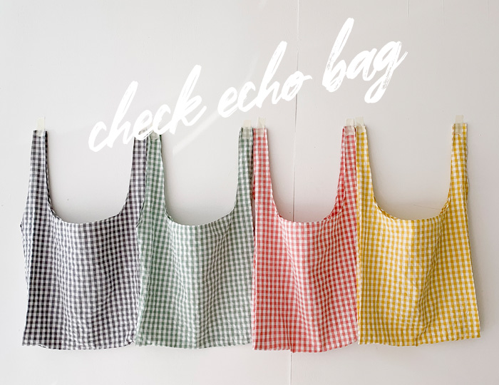 pinksisly-활용만점 데일리 체크 에코-bag♡韓國女裝袋