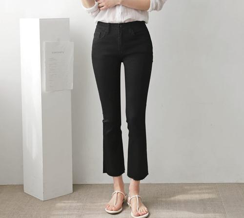beige blanc-프라하 세미 부츠컷 스판 블랙 팬츠]♡韓國女裝褲