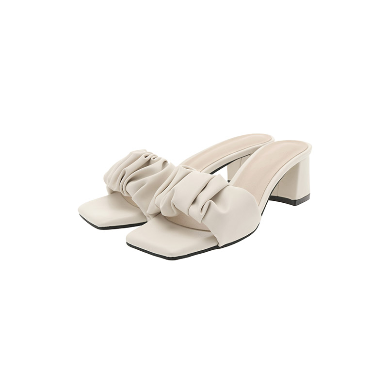 attrangs-sh2278 고급스러운 무드의 볼드 셔링 미들굽 뮬 shoes♡韓國女裝鞋